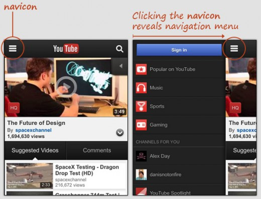 navicon transformicon 01youtubemobile 520x397 How to make your navigation bar more exciting with transformative icons