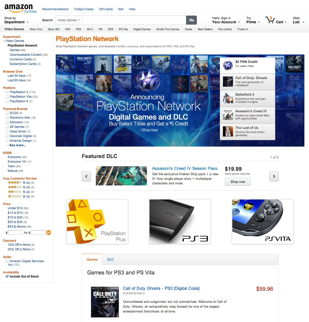 Amazon PlayStation Network Store Launches for PS4, PS3 and
