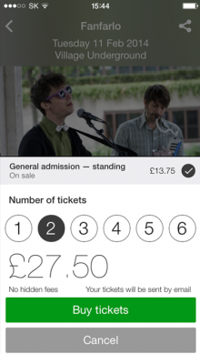 ticket select  on device1 220x389 Songkick for iPhone now scans your Spotify playlists and lets you buy tickets in app