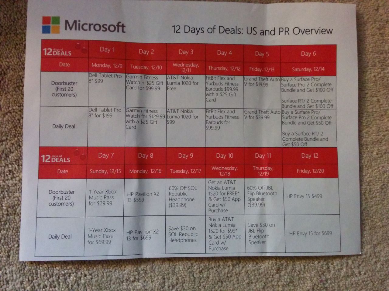 12DaysList Microsoft Store 12 Days of Deals promotion in the US allegedly leaks
