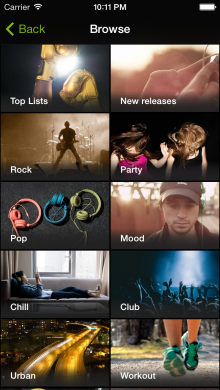 2.iOS 4 in.browse 220x390 Spotify unveils a free music streaming service for iOS and Android