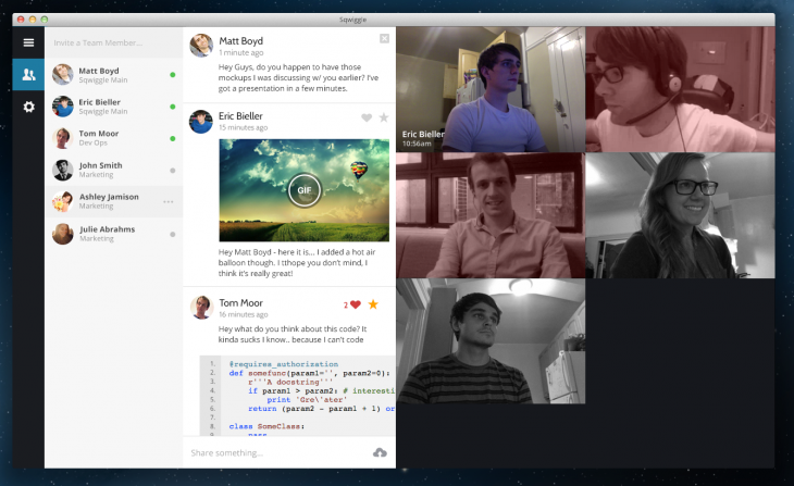 Sqwiggle's Mac and browser-based remote workplace app is now free for teams of three people or ...