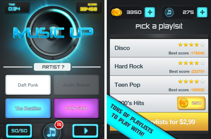 MusicUp 730x481 MusicUp pits you against friends to find out who can identify the most songs in 90 seconds
