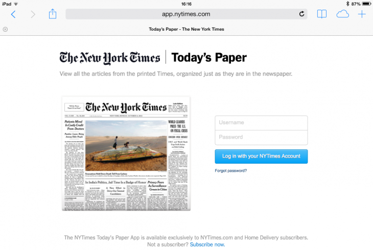 Photo 05 12 2013 16 16 16 730x489 The New York Times launches a Web app featuring just the content from the print edition