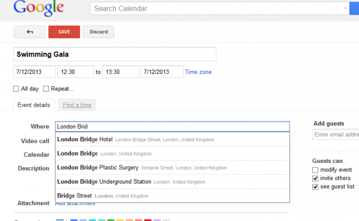 Screenshot 1 730x449 Google Calendar taps Maps for location autocomplete suggestions, and shows relevant events as you search