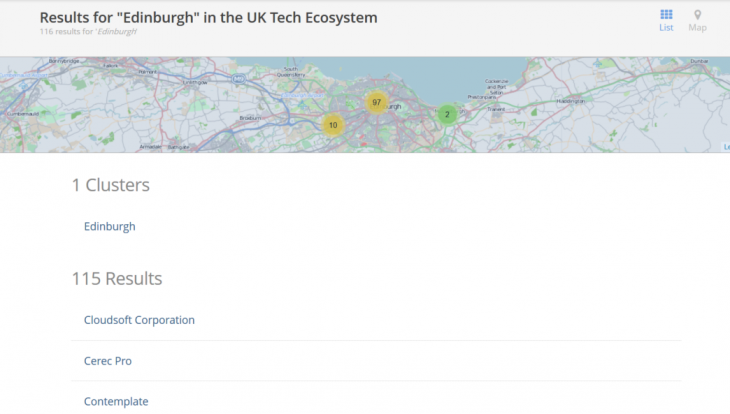Screenshot 21 730x414 TechBritain unveils a revamped interactive map of the UK startup scene