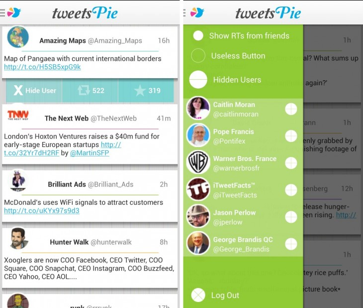 TweetsPie 730x618 TweetsPie for Android updated with new look: Its Twitter for people that really dont have time