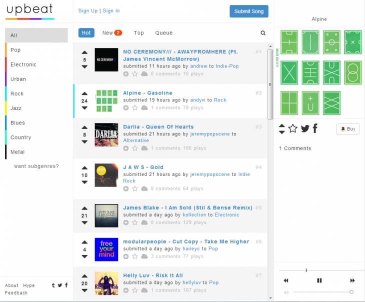 UpBeat Charts 730x604 UpBeat puts you in control of the music charts through smart SoundCloud integration