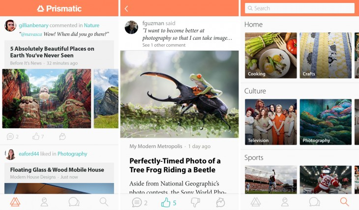 feed 730x427 Prismatic's redesigned iOS app now helps you find content relevant to your interests