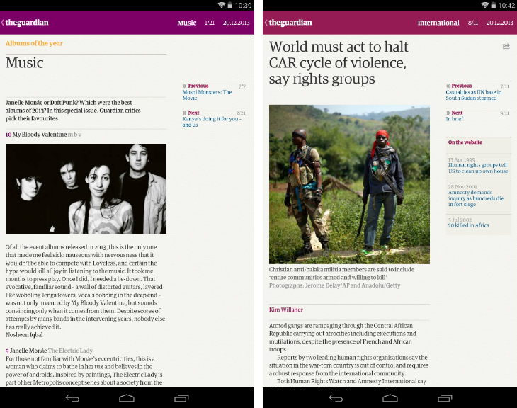 g2 The Guardian and Observer newspapers are now available as a Kindle Fire and Android tablet app