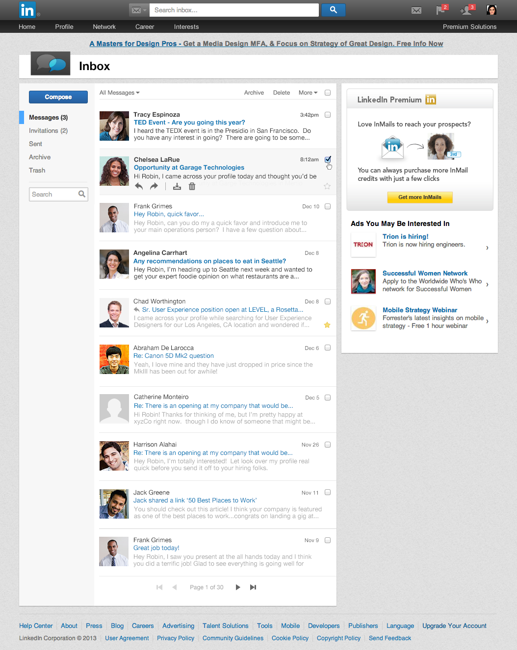 linkedin inbox list view LinkedIn redesigns the inbox with larger pictures, centralized navigation, and message previews