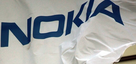 Flags with the Nokia logo flutter at the