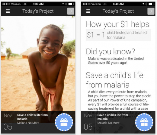 one day today 520x447 Google charity app One Today comes to iOS, lets you make $1 donations from your phone