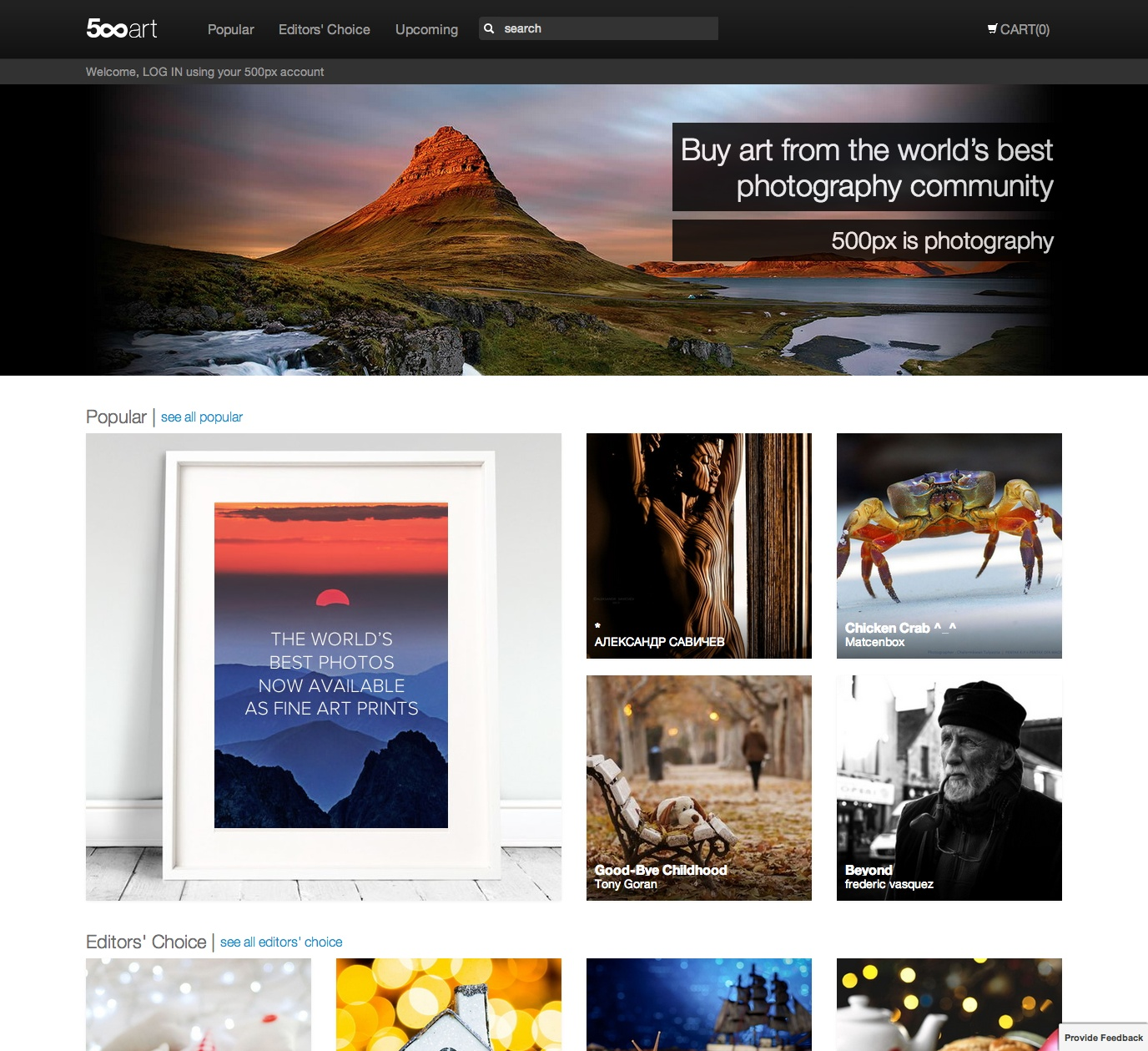 500px art is a new place for photographers to sell their for Best place to sell your art online