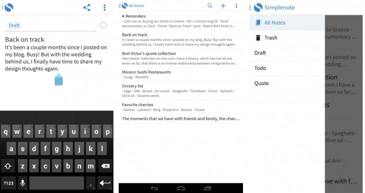 snotes 730x387 43 of the best Android apps launched in 2013