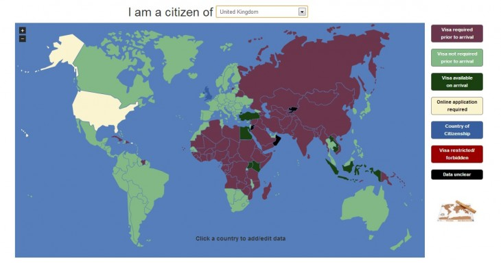 visamapper 730x383 This website lets you know which countries youll need a visa to visit