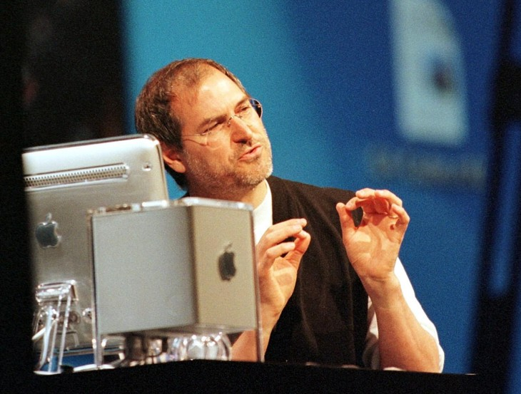 Steve Jobs, CEO of Apple Computer, demonstrates Ap