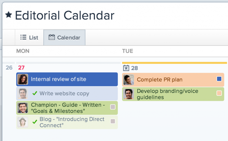 Calendars in Asana 2 - customized view