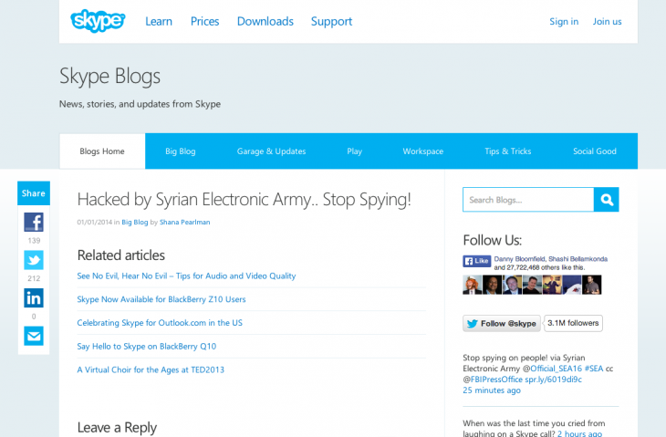 Screen Shot 2014 01 01 at 12.30.36 PM 730x479 Skypes Twitter, Facebook, and blog hacked by Syrian Electronic Army demanding an end to spying