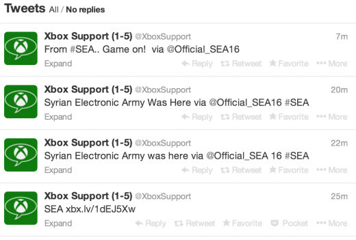 Screen Shot 2014 01 11 at 11.44.31 520x351 Microsofts Xbox Support Twitter account briefly hijacked by the Syrian Electronic Army