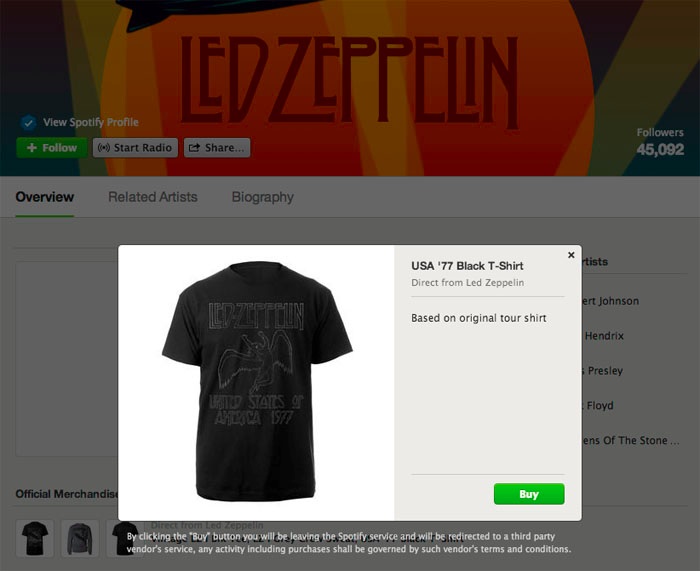 Spotify Merch 1 Spotify now lets all artists list merchandise on its music streaming service