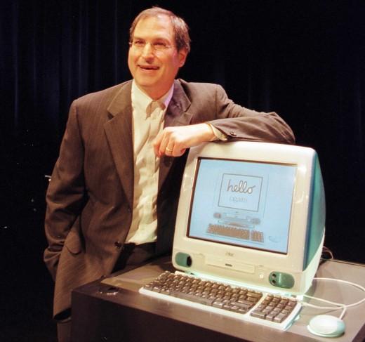 Apple Computer's Interim CEO Steve Jobs unveils a