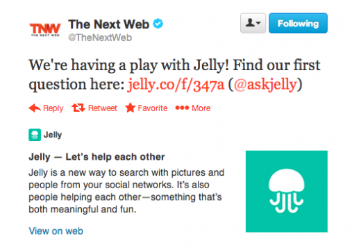 TNW jelly 520x360 Are you ready for this Jelly? How brands should be using Biz Stones new Q&A app