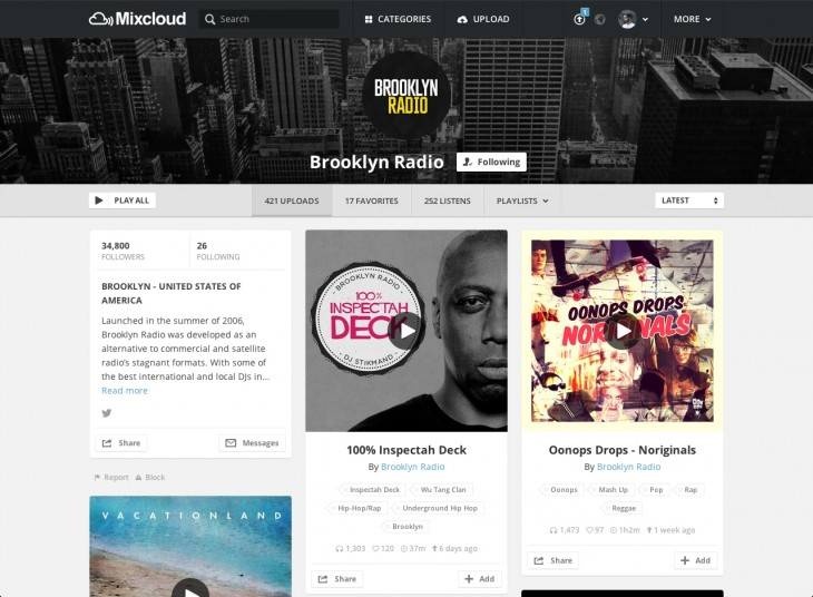 User profile Brooklyn Radio 730x536 Mixcloud revamps Web platform for launch of Mixcloud X, adds Branded Profiles for Brand Partners