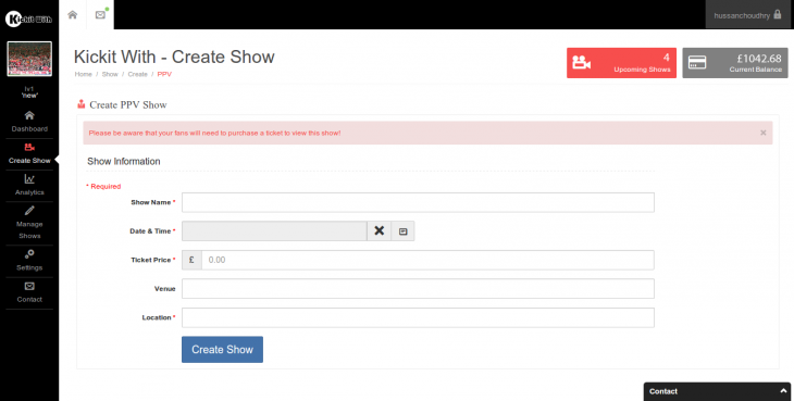 artist createshow form1 730x369  Virtual venues: This startup wants to help bands of all sizes broadcast to their fans