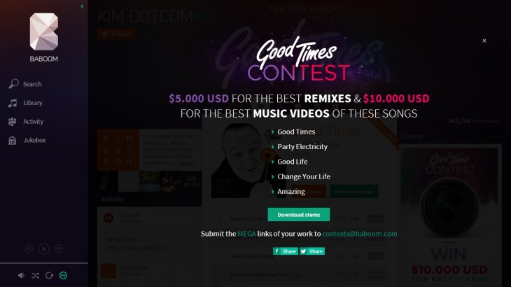baboom1 730x410 Kim Dotcom gives a sneak preview of Baboom, his new music streaming service