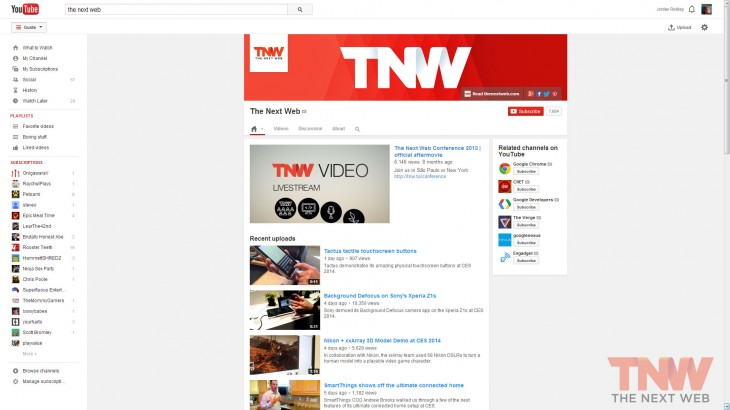 channelpage tnwlogo 730x410 Here's a look at YouTube's latest experiment: a cleaner interface with more focus on videos
