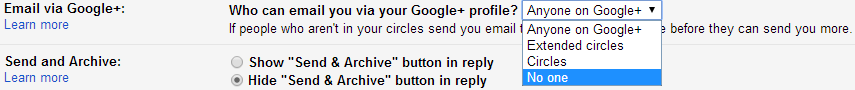 email via googleplus How to stop anyone on Google+ from emailing your Gmail account