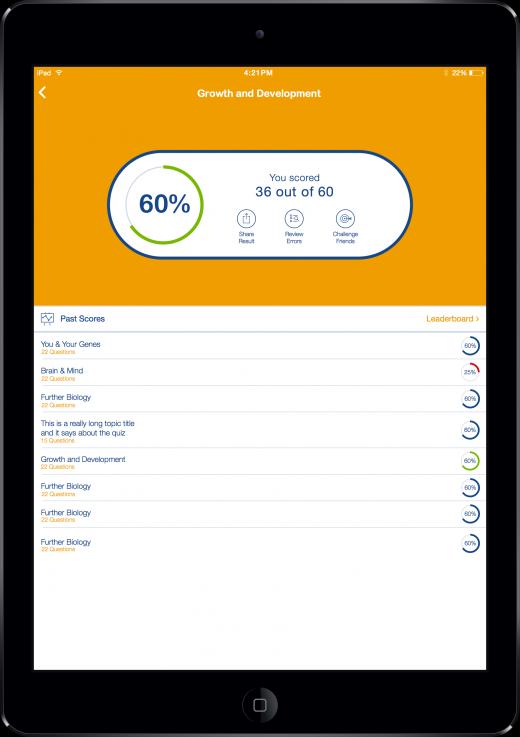 iPad Score Screen