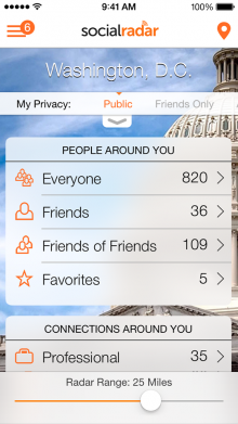 socialradar 220x391 SocialRadar's iPhone app helps locate your friends by tapping into a range of social networks