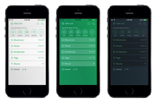 three colors Evernote for iPhone and iPad updated to offer a more customizable experience