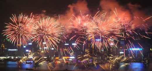 Fireworks light up the sky over Victoria