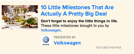 A link to sponsored content on the Buzzfeed homepage.
