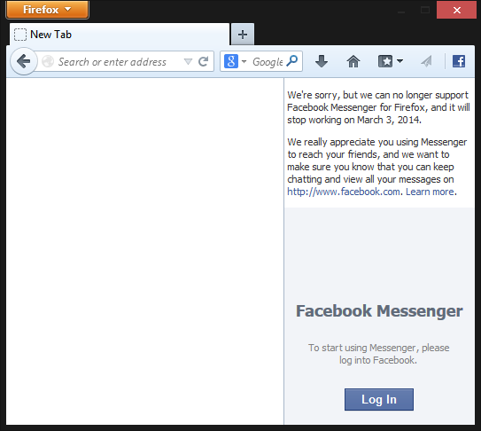 Facebook Messenger for Firefox will Shut Down on March 3