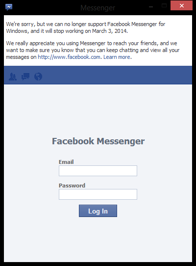 facebook messenger shutdown Facebook Messenger for Windows will shut down on March 3