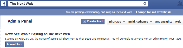 Facebook Pages Will Show the Names of Admins Beside Posts