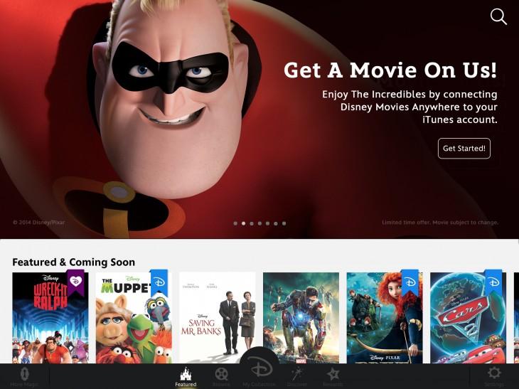 featured incredibles ipad 730x547  Walt Disney Studios brings over 400 films to iOS devices with its new Disney Movies Anywhere app