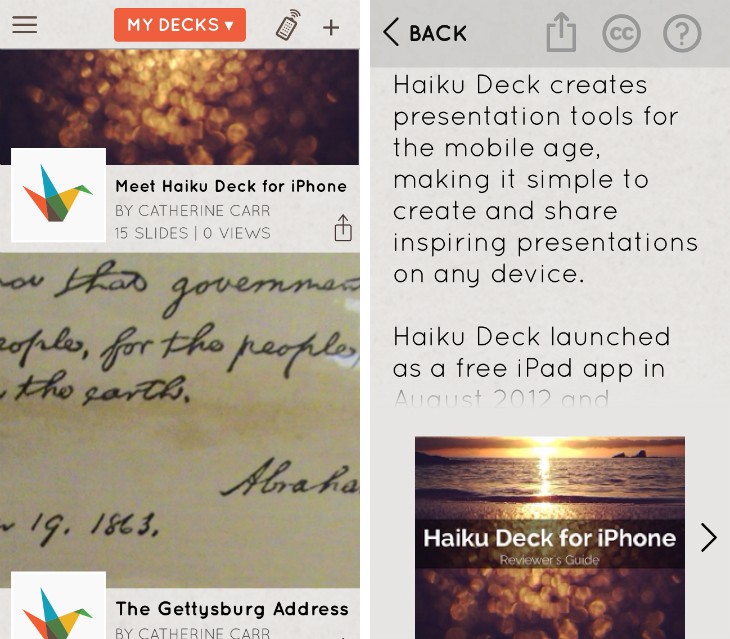 haiku2 Haiku Deck for iPhone lets you deliver presentations created with its iPad and Web apps