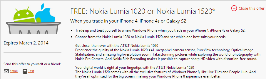 lumia 1020 1520 iphone s2 Microsoft wants to swap your iPhone 4, iPhone 4S, or Galaxy S2 for a Lumia 1020 or Lumia 1520