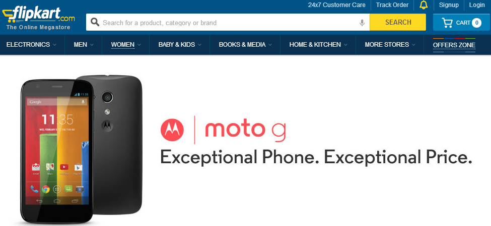 moto g flipkart Moto G launches in India, available from February 6 for $200 (8 GB) and $225 (16 GB)