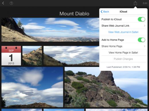 iPhoto for iOS publish