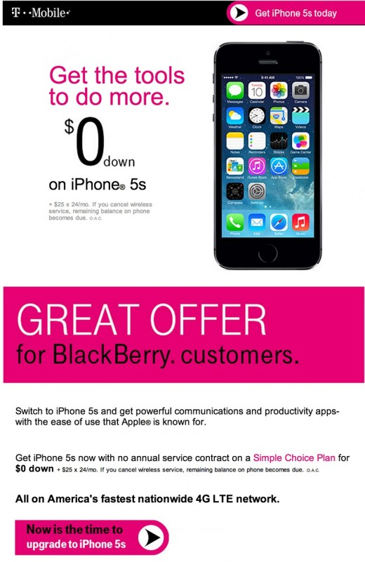 t mobile iphone switch 520x801 BlackBerry CEO is outraged at T Mobiles efforts to switch customers to the iPhone 5s