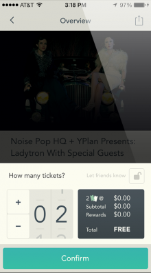 yplan sf 220x396 Last minute night out app YPlan arrives in San Francisco with Noise Pop partnership