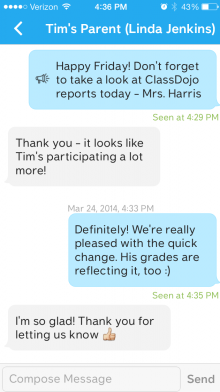 05 - Direct Messaging conversation with a parent