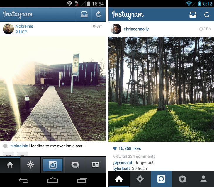 Instagram for Android Gets a Gorgeous Flat Redesign