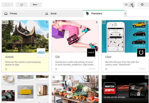 Google trials a new 'visual' way to view promotions in your Gmail account